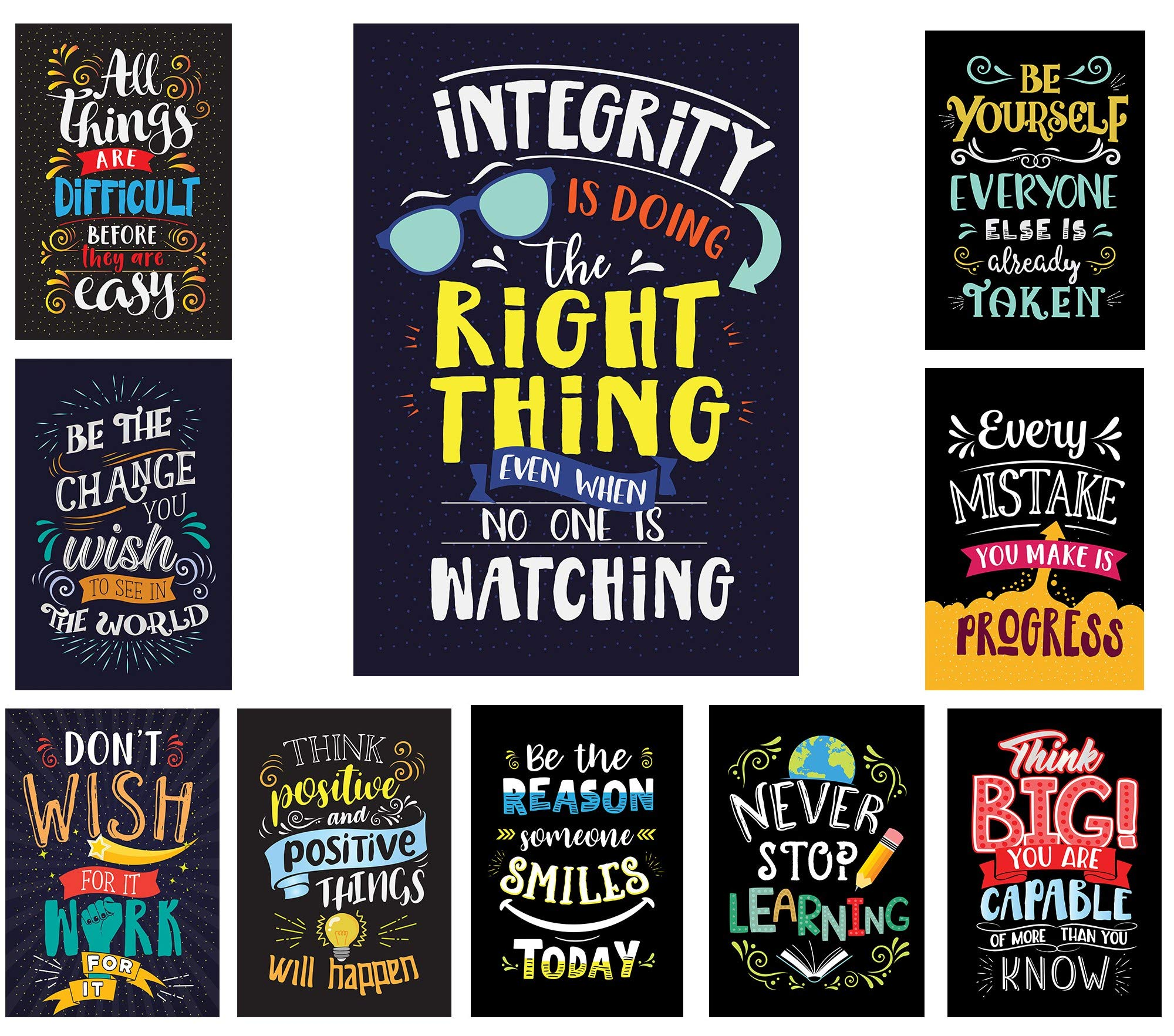 Learning Ladder Set of 10 Bright Colors Style Motivational Classroom Posters (13'' x 19'' - Laminated) | Inspirational Quotes for Classroom Decoration