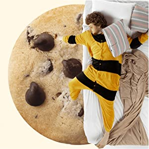 BATTILO HOME Funny Flannel Cookie Chocolate Blanket, Sofa Soft Throw Blankets, Realistic Food Blanket, Perfect for Camping, Home Bed Sleeping Blanket for Kids Child Dog, Diameter 59 inch