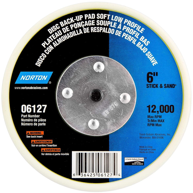 6 Diameter Pack of 1 Norton Pressure Sensitive Adhesive Soft Low-Profile Pad 12000 rpm