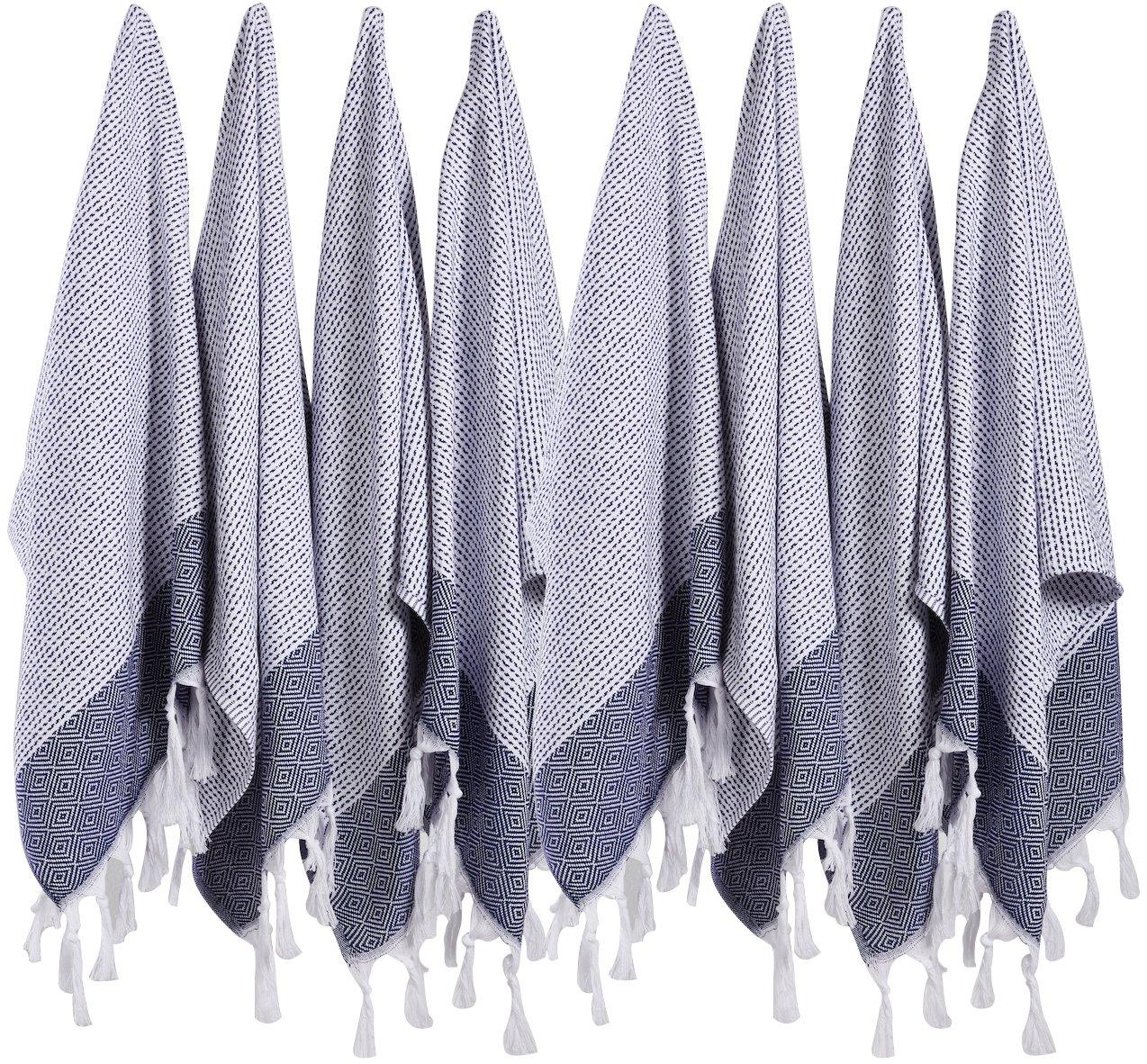 (SET of 8) Turkish Cotton Hand Face Head Guest Gym Towel Set Peshtemal Washcloth Kitchen Tea Towel Dish Cloth Set (Black) BOSPHORUS COMIN16JU028305