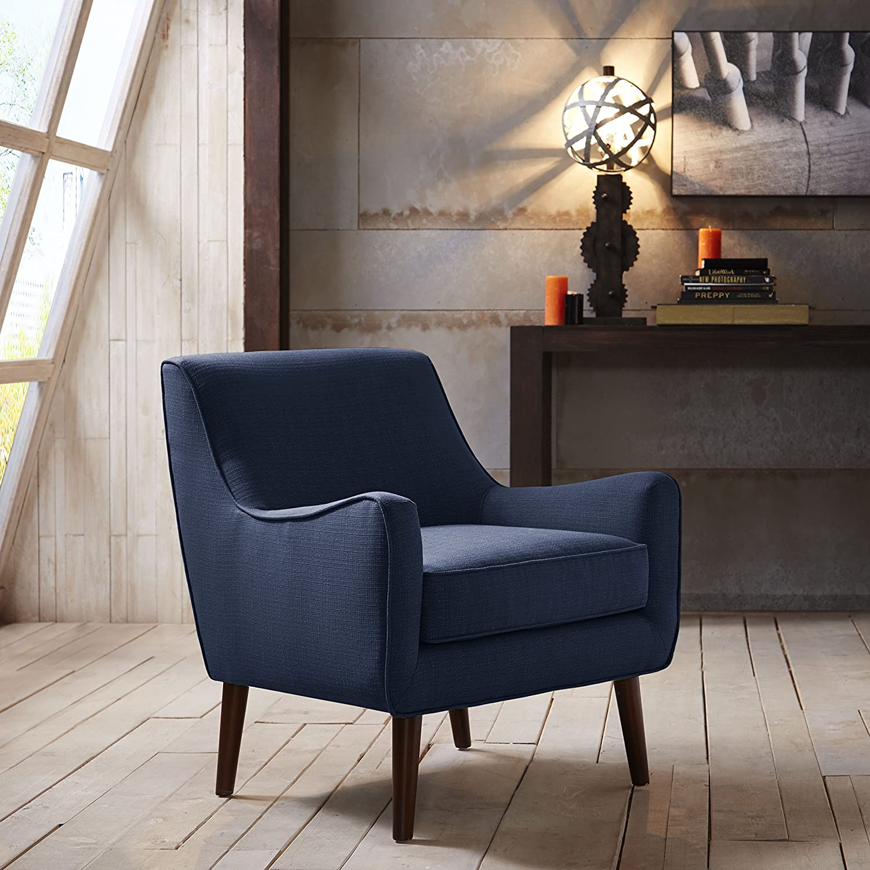 Amazon Mid Century Navy Blue Linen Upholstered Accent Arm