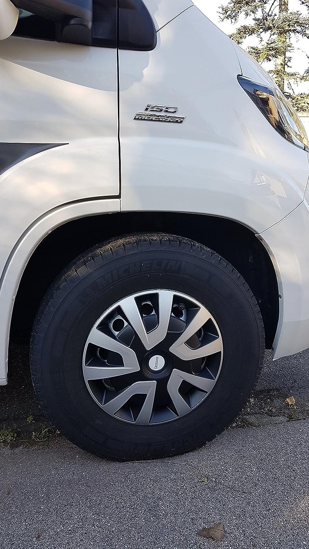 Michelin 92021 Tapacubos Denise para Transporter, Van y caravanas, 4 Piezas, 40,6 cm Reflector Sistema n.v.s, Plata de Negro, 4 Unidades, 16 Pulgadas: ...