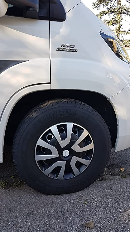 MICHELIN 92020 Denise Wheel Trims for Van, Vans and motorhomes, 4 Pieces, System nvs Reflector – Silver/Black, 15 Inches Set of 4