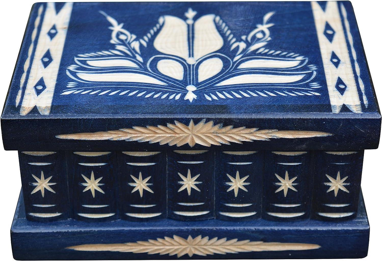 Taille M bleu EN BOIS sculpt/é Secret Bo/îte myst/ère Bijoux Bo/îte /à bijoux cadeaux pour femme d/écoratifs Bois dense boucles doreilles Bague support bo/îtes de rangement