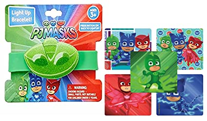 Pj Masks Boys Light Up Rubber Wristband Bracelet In Green Feaurting Gekkos Logos! Plus Bonus