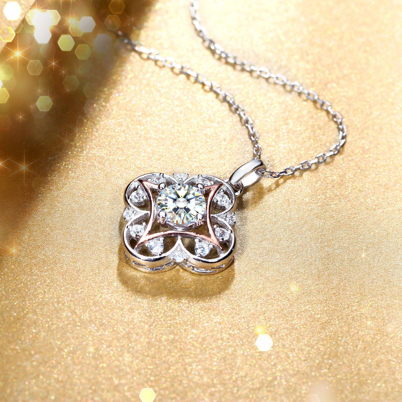 Cadeau avec Paquet Exquis Elfe des Fleurs Cha/îne 45+5CM J.Ros/ée Collier Alliage de Couleur Or Rose Bijoux Femme//Fille 5A Zirconium cubique Blanc