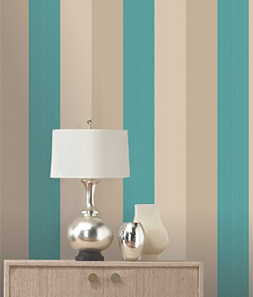 Olivia II Teal Cream And Gold Striped Wallpaper 6158 Amazoncouk DIY Tools