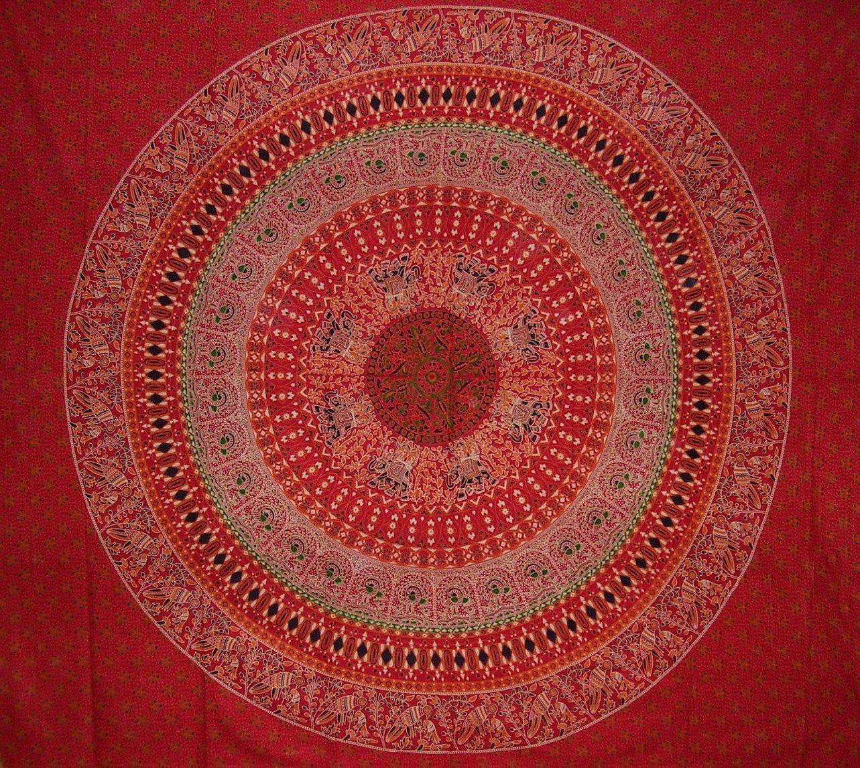 Indian Mandala印刷タペストリーコットンベッドスプレッド92