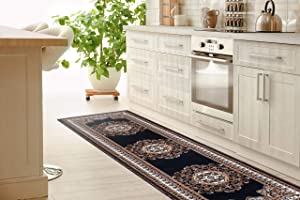 Cosy House Collection Runner Rugs for Hallway, Entryway, Kitchen, Bathroom | Traditional Oriental Style Home Decor | Resists Stains, Soil, Fading & Freying | 2' X 7', Kingdom Black