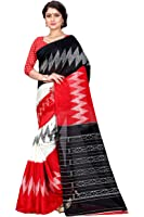 Sugathari Sarees Women's Red and Black Mysore Bhagalpuri Art Silk Saree (Bhagalpuri Sarees 61 Red Black)