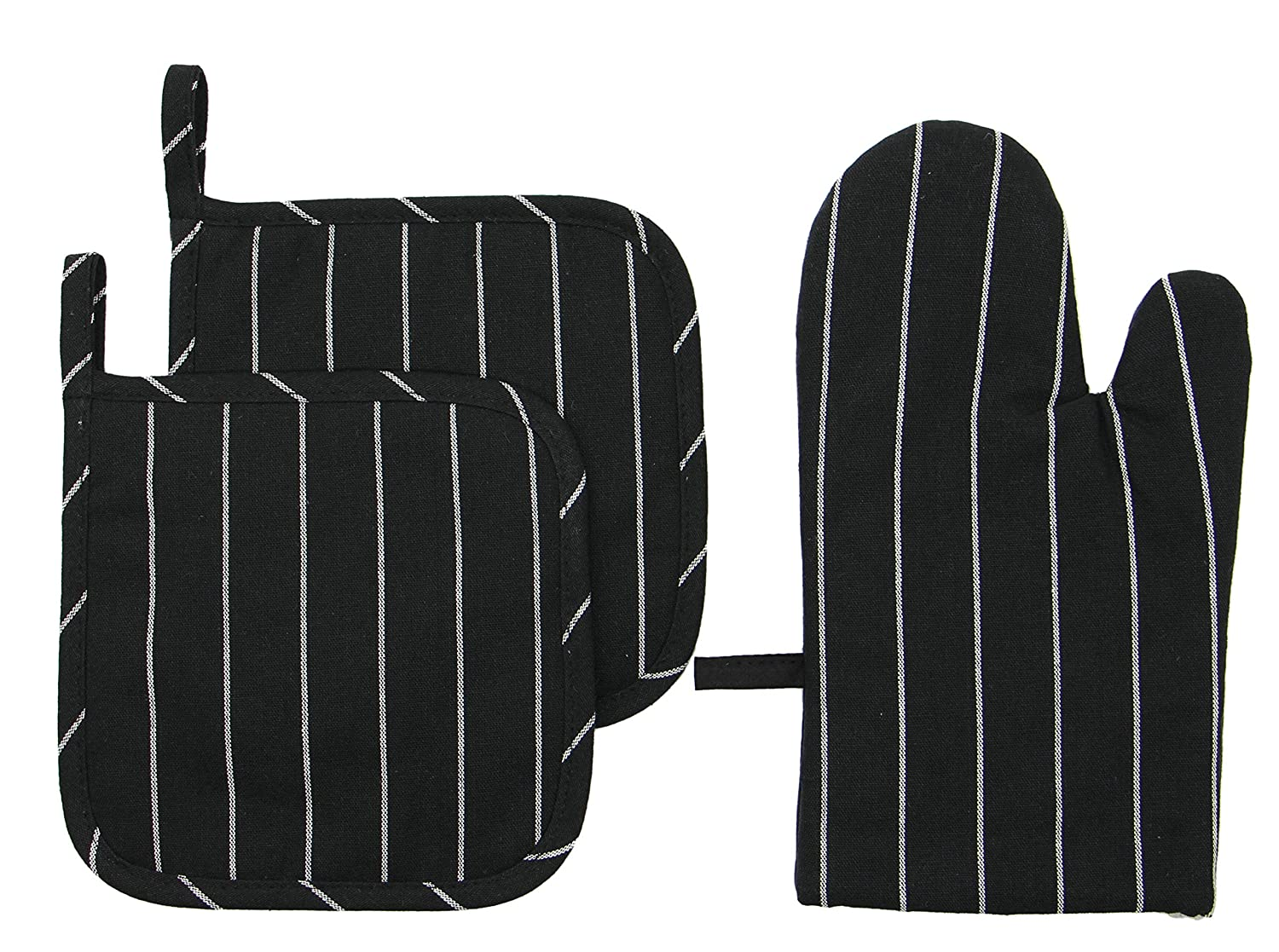 Mia'sDream 100% Cotton Oven Mitt & Pot Holders Kitchen Quilted Oven Gloves,Hot Pan Mat Pads Set for Cooking Grilling Barbeque Baking Heat Resistant Set of 3 (Black Stripes)