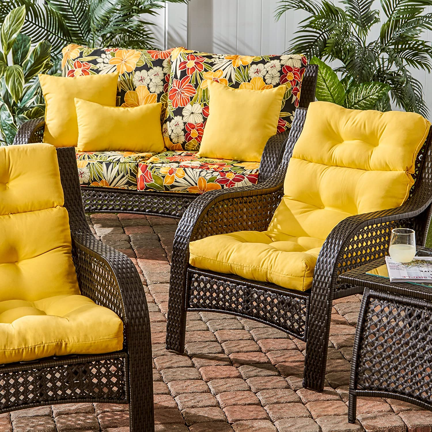 amazon com greendale home fashions outdoor high back chair