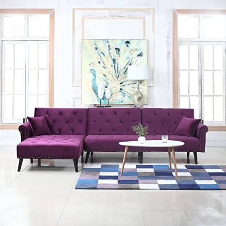 Mid Century Modern Style Velvet Sleeper Futon Sofa, Living Room L Shape Sectional Couch with Reclining Backrest and Chaise Lounge (Purple)