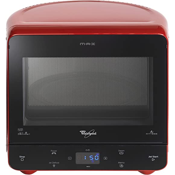 Red Whirlpool Max Microwave with Steam Function