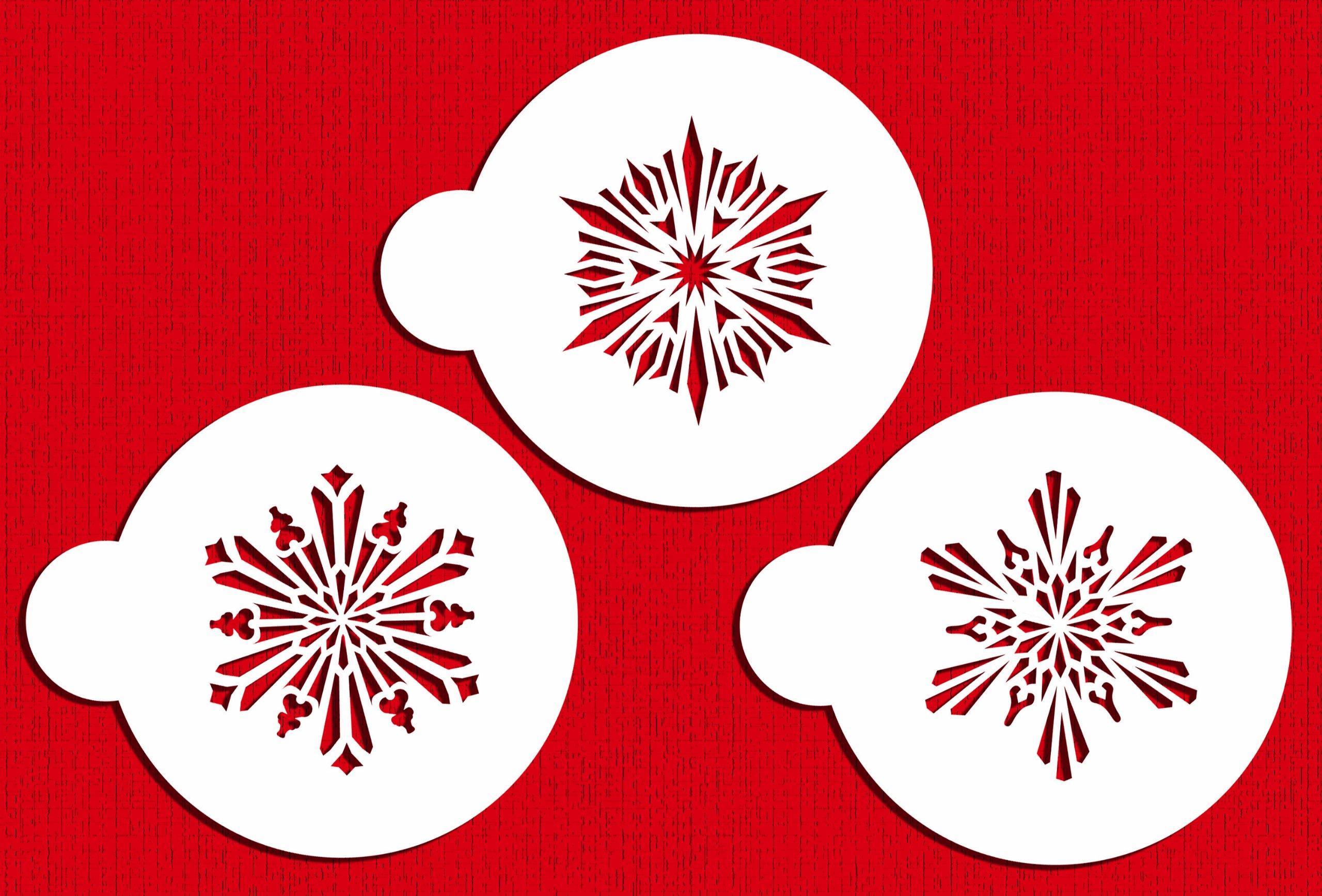 Designer Stencils C748 Small Crystal Snowflakes 3 Cookie Stencils, Beige/semi-transparent by Designer Stencils