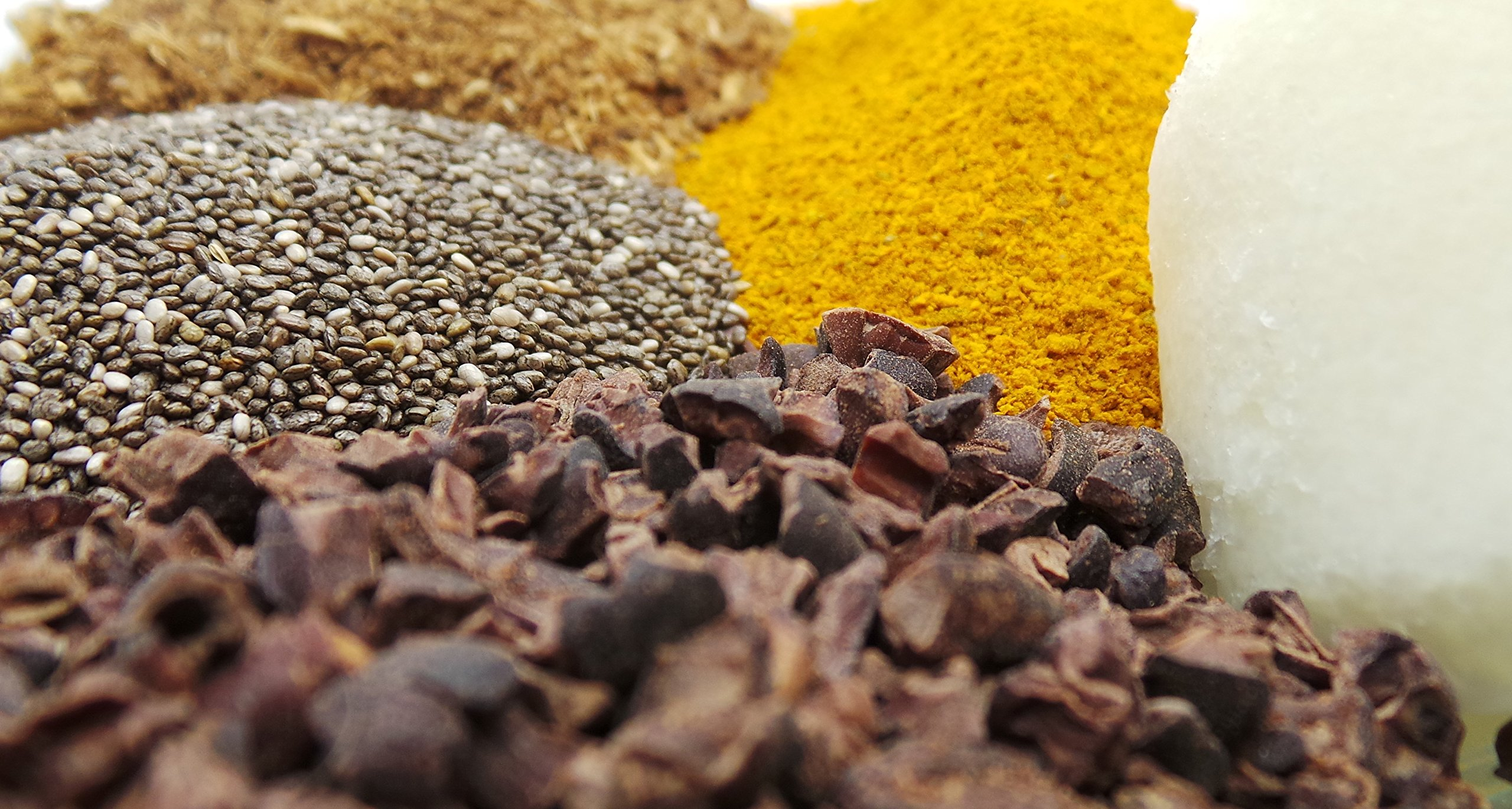 Belizean Superfoods Smoothie Additives Pack to Supercharge Your Day - Includes Turmeric, Chia Seeds, Chai Blend, Cacao Powder and Coconut Oil