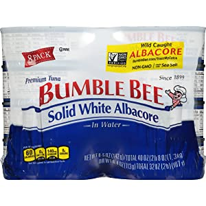 BUMBLE BEE Solid White Albacore Tuna in Water, Canned Tuna Fish, High Protein Food, Keto, 40 Ounce, Pack of 8