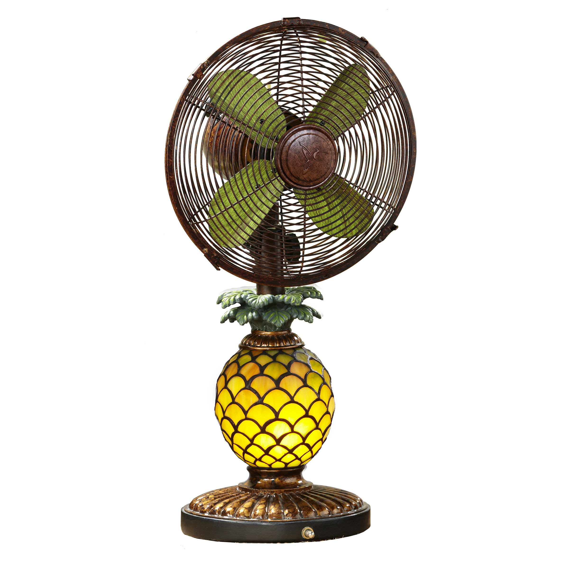 DecoBREEZE Oscillating Table Fan and Tiffany Style Table Lamp, 3 Speed Circulator Fan, 10 In, Pineapple by Deco Breeze