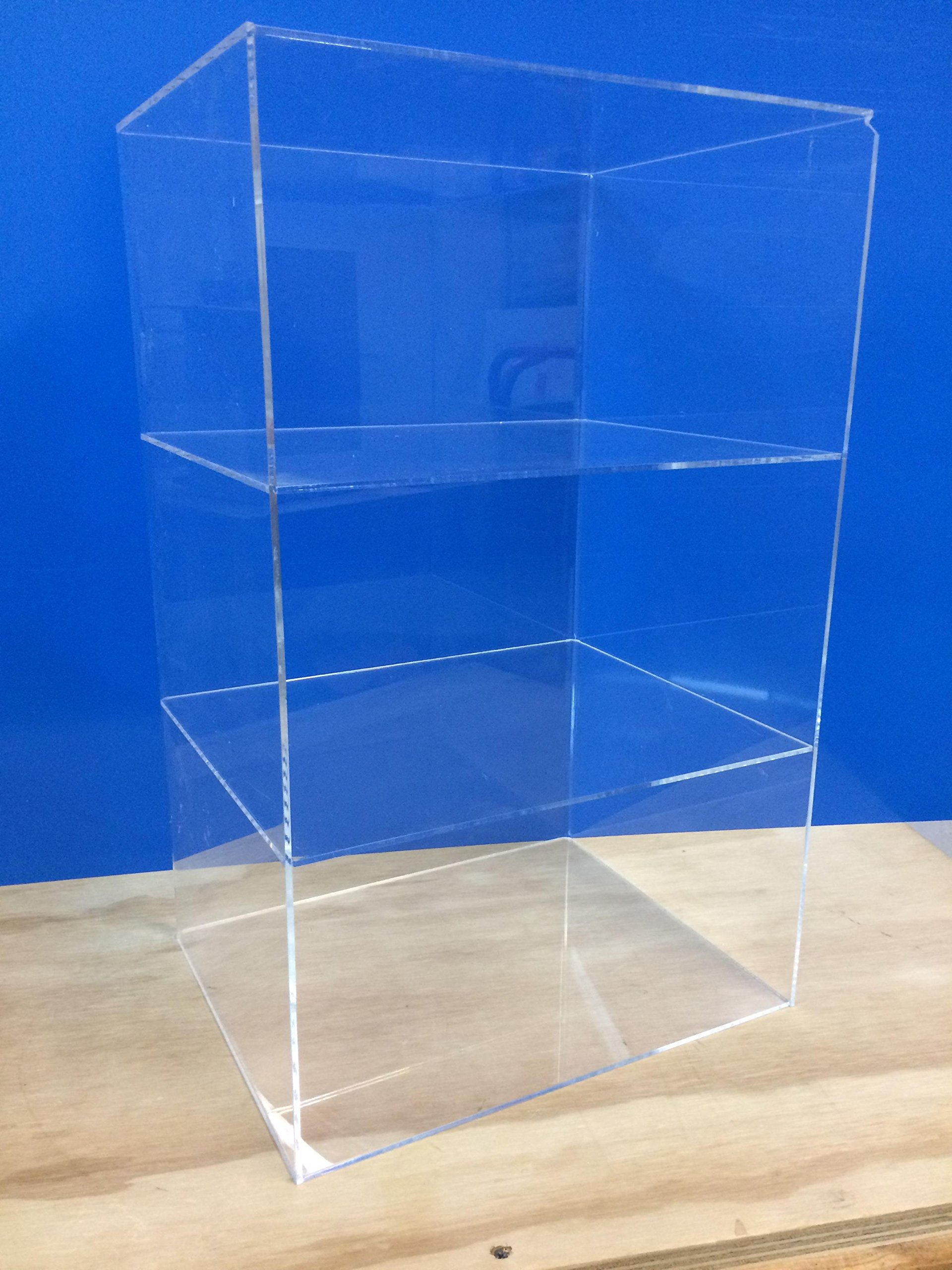 LuciteDisplay Acrylic Lucite Countertop Display ShowCase Cabinet 12'' x 9.5'' x 19''h 2 shelves