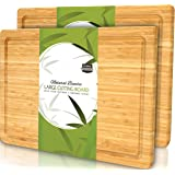Utopia Kitchen (Pack of 2) Extra Large Bamboo Cutting Board with Juice Groove - Kitchen Chopping Board for Meat Cheese and Ve
