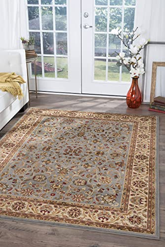 Ventura Transitional Oriental Blue Rectangle Area Rug, 8 x 10