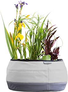 Water Creations Deco Planter Large Pot for Home and Garden, for use with Aquatic Plants, Herbs, and more, 13-Inch, Gray