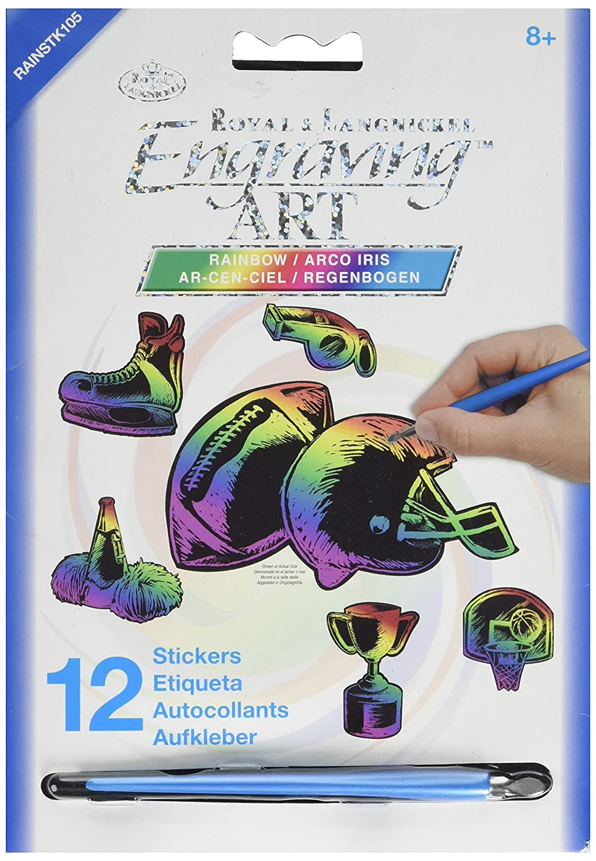 ROYAL BRUSH Rainbow Engraving Art Stickers Sports Stories RAINSTK-105