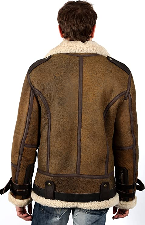 Mens Vintage Brown B3 Sheepskin Aviator Flying Leather Jacket 3XL:  Amazon.ca: Clothing & Accessories