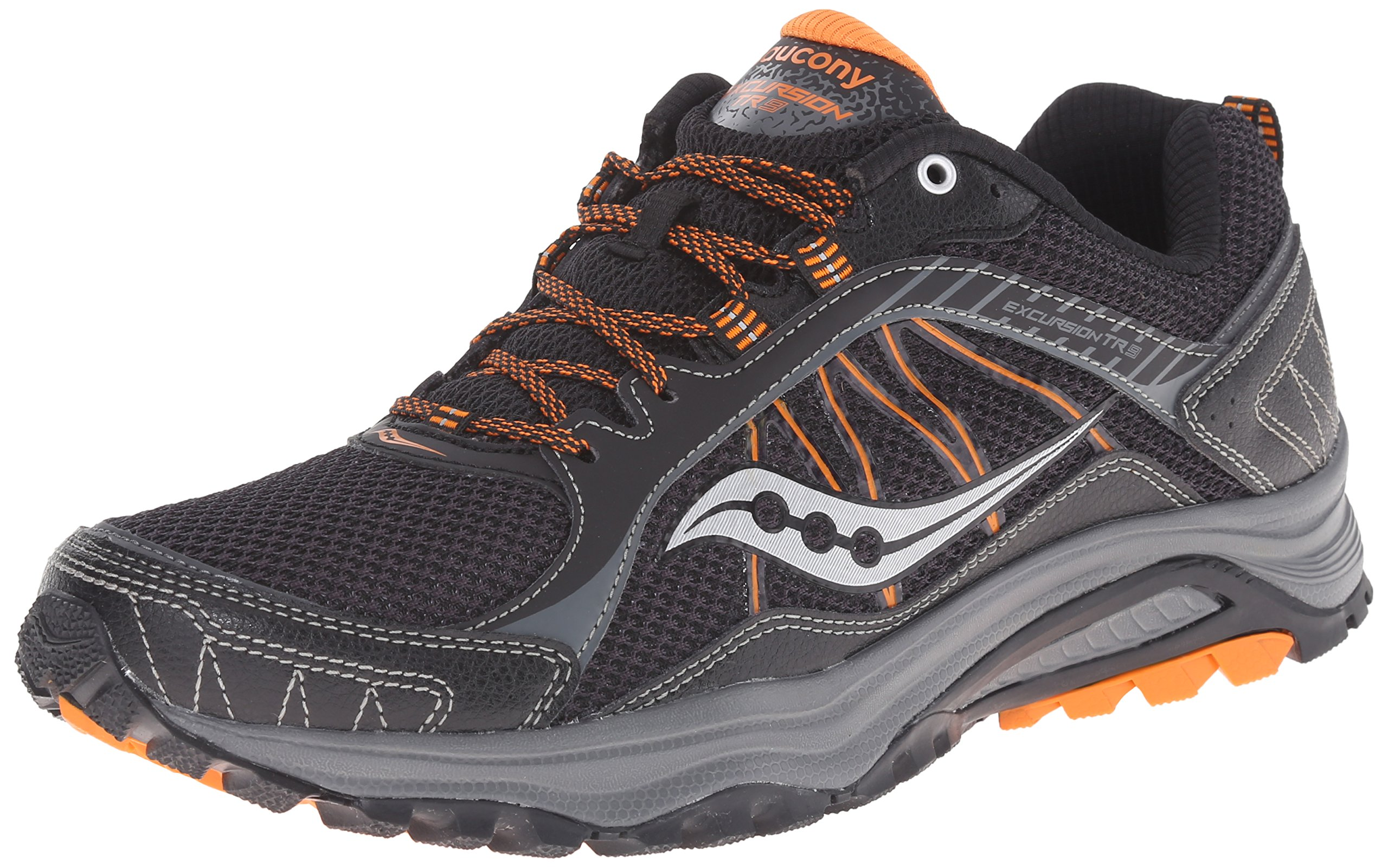 Saucony Men's Grid Excursion TR9 Running Shoe, Black/Orange, 8 M US