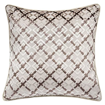 Fantastic Homey Cozy Jacquard Throw Pillow Cover Lattice Tapestry Ecru Brown Velvet Large Sofa Couch Pillow Sham 20X20 Cover Only Gmtry Best Dining Table And Chair Ideas Images Gmtryco