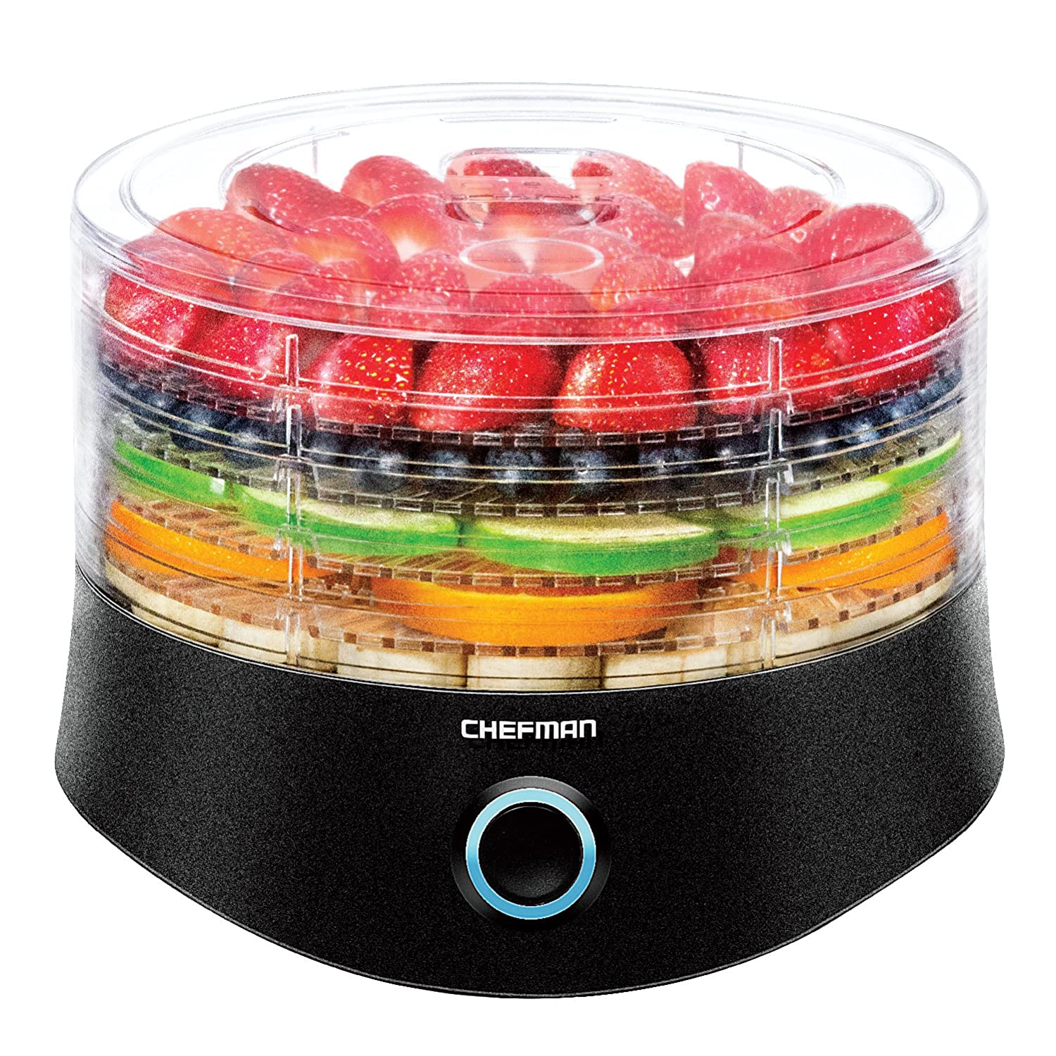 Chefman 5 Tray Round Food Dehydrator, BPA Free Professional Electric Multi-Tier Food Preserver, Meat or Beef Jerky Maker, Fruit, Herb, Vegetable Dryer, 9.5 Inch Diameter x 6.5 Inch Height