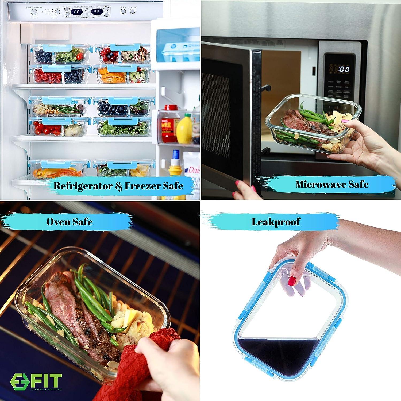 1 e 2 e 3 scomparti 1000 ml Chiaro FIT Strong Healthy Contenitori per la conservazione di pasti con coperchi ventilati