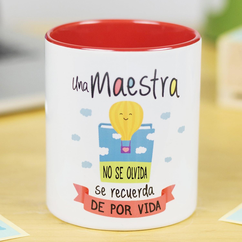 La Mente es Maravillosa - Taza frase y dibujo divertido (Una maestra no se olvida, se recuerda de por vida) Regalo MAESTRA o PROFESORA