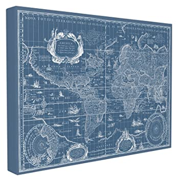 Amazon stupell home dcor vintage blueprint world map oversized stupell home dcor vintage blueprint world map oversized stretched canvas wall art 24 x 15 malvernweather Choice Image