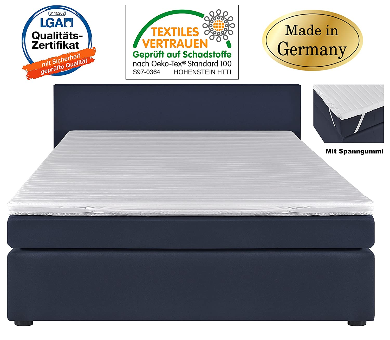 Topper - para cama con somier 180 x 200 - Colchón (6 cm de grosor, ambos lados - Acolchada con núcleo de espuma de colchón fabricado en Alemania - Cama de ...