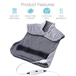 Pure Enrichment PureRelief XL Extra-Long Back & Neck Heating Pad