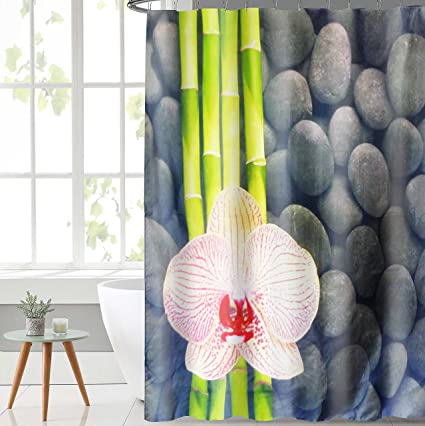 Lushomes Polyester Blend Digital Bamboo Flower Design Shower Curtain with 12 Eyelets and 12 Hooks (Multicolour, 71x78-inch)