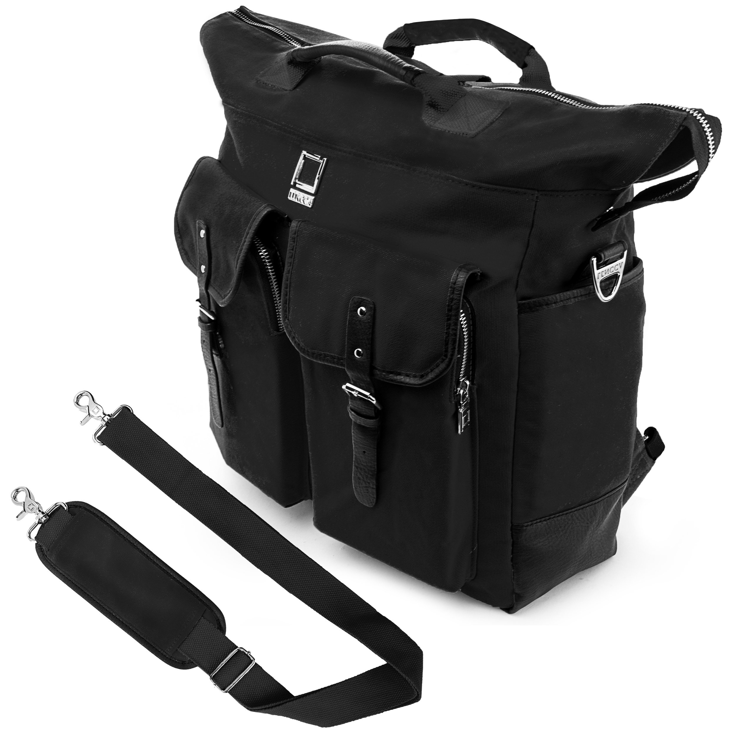 Lencca Universal Hybrid 3 in 1Design Carrying / Tote / Messenger / Crossbody / Backpack / Shoulder Bag for Apple Macbook Pro series 15.4 / 13.3 inch Mac OS X Laptop (Black)