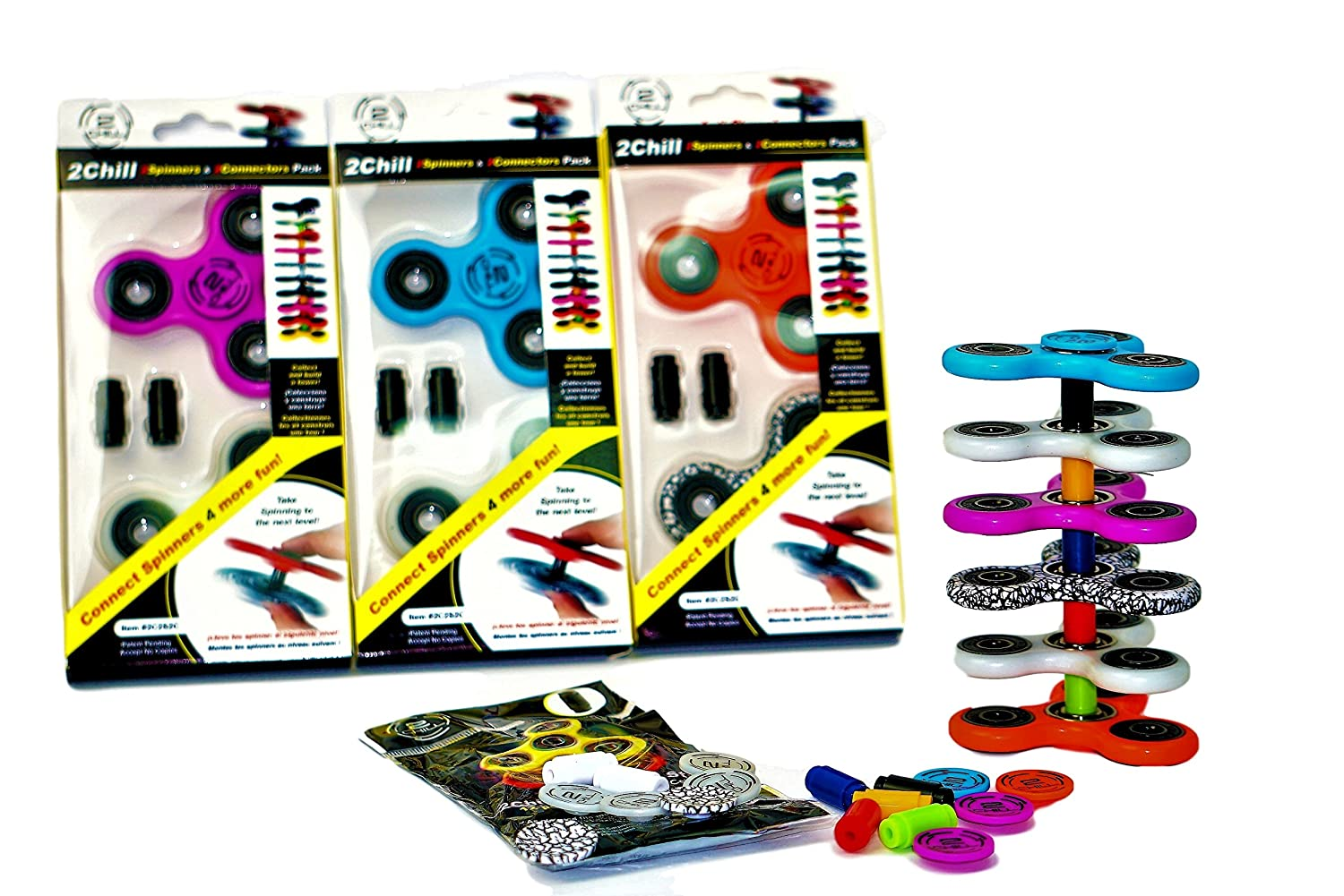 2CHILL Fidget Spinner with Connectors 24 pcs Set Make a Tower