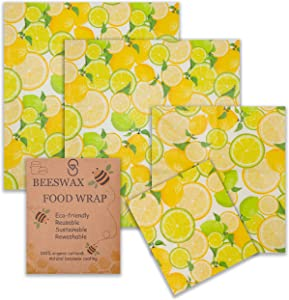 Reusable Beeswax Food Wrap - Pack of 4 Organic Cotton Sheets - 3 Sizes Set - Natural Rewashable Coating Beeswrap Covering - Eco Friendly Bees Wax Sandwich Wrappers - Sustainable Waxed Paper Wrapping