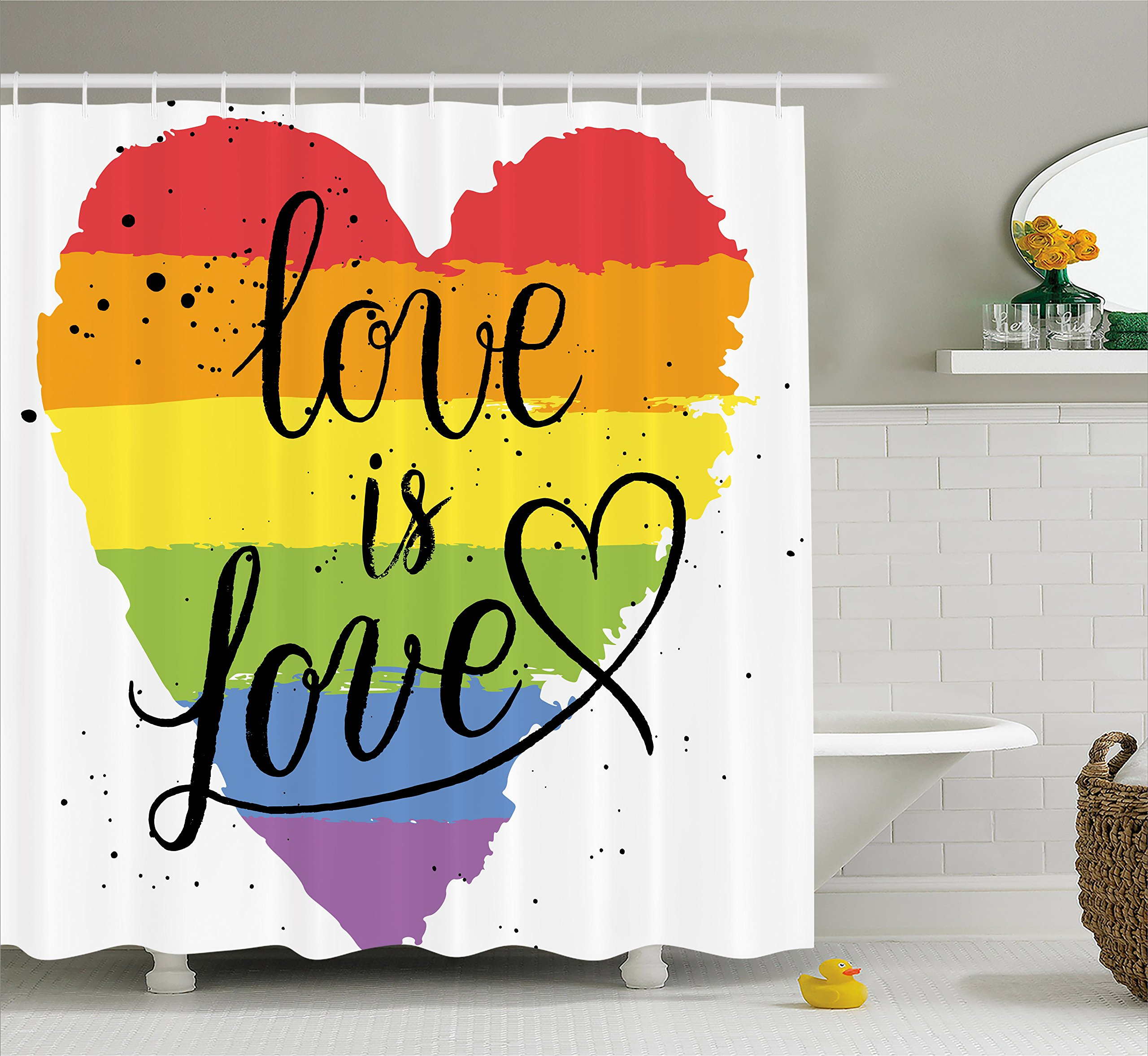 Ambesonne Pride Decorations Shower Curtain, LGBT Gay Lesbian Parade Love Valentines Inspiring Hand Writing Paint Strokes Artistic, Fabric Bathroom Decor Set with Hooks, 70 Inches, Multicolor