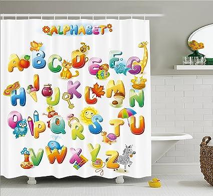preschool bathroom design. Ambesonne Educational Shower Curtain, Cheerful Cartoon Fun Alphabet Design  For Kids Cute Font Preschool Kindergarten Preschool Bathroom Design B