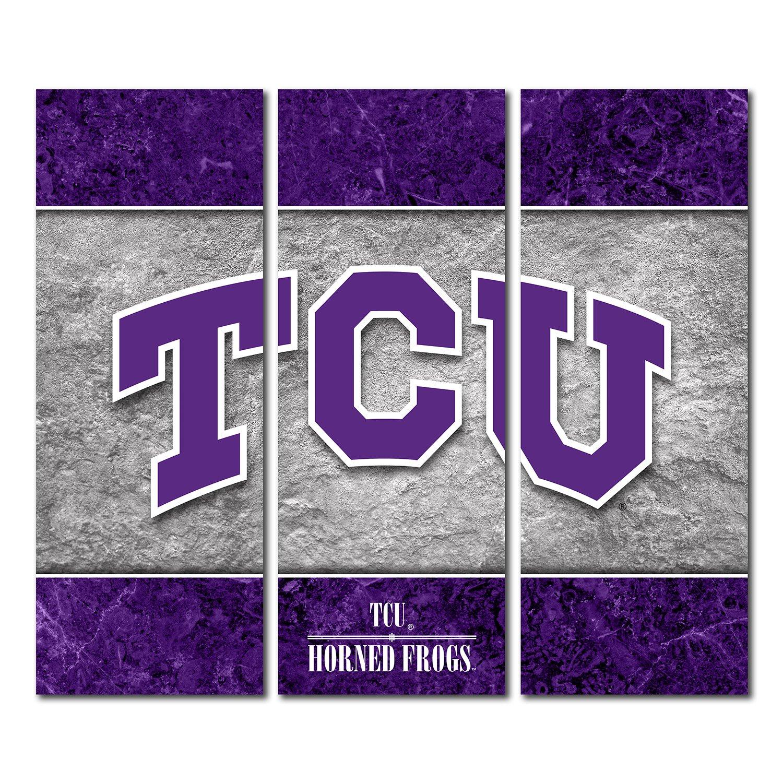 Texas Christian University TCU Horned Frogs Canvas Wall Art Triptych Double Border Design (48x54 Triptych)