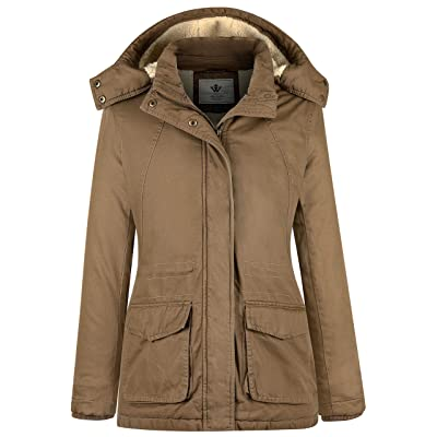 WenVen Women's Winter Thickened Warm Sherpa Lined Hooded Cotton Jacket: Clothing