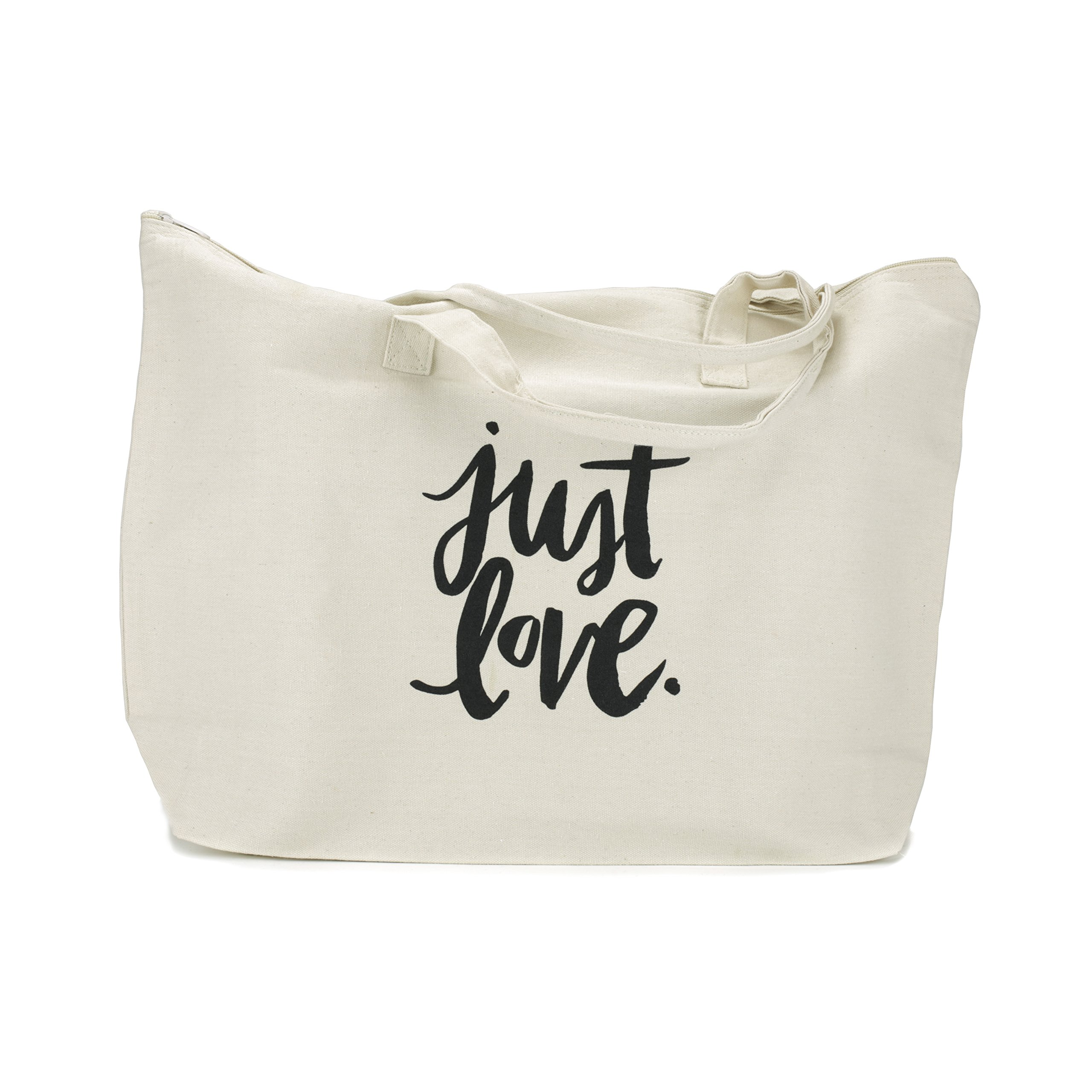 Canvas Tote Bag with Special Saying - Zipper Top, Interior Pocket, 100% Cotton (Natural - Just Love)