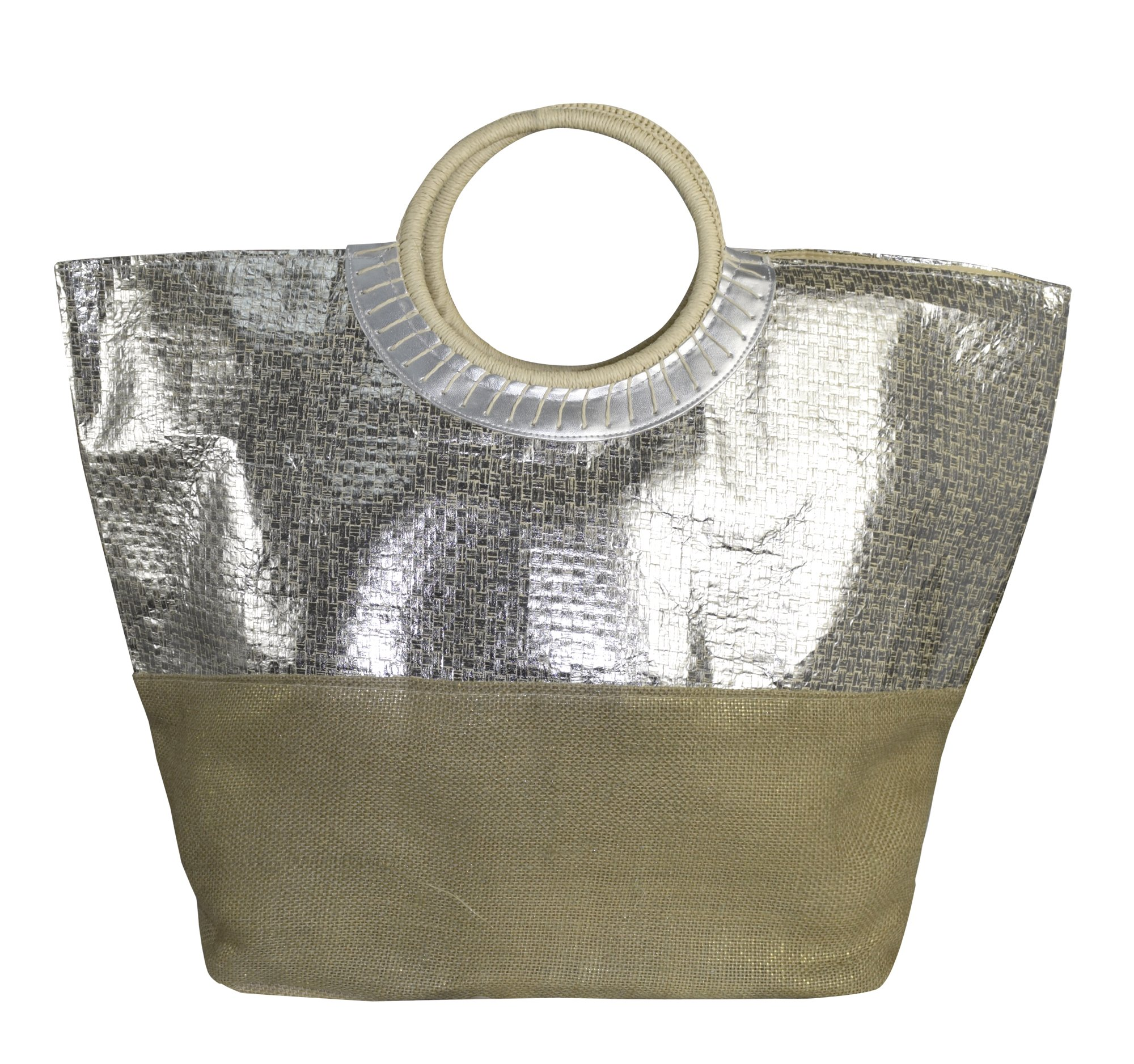 Peach Couture Gold Weave Large Travel Tote Hobo Handbags Shoulder Bags (Silver)