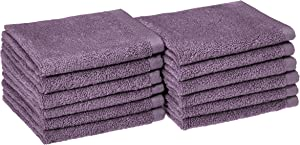 AmazonBasics Quick-Dry, Luxurious, Soft, 100% Cotton Towels, Lavender - Set of 12 Washcloths