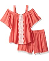 My Michelle Big Girls' Two Piece Set With Cold Shoulder and Crochet Trim