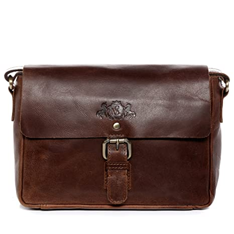 c78b382434 SID & VAIN® Borsa messenger vera pelle vintage YALE piccolo borsello tracolla  borsa a spalla