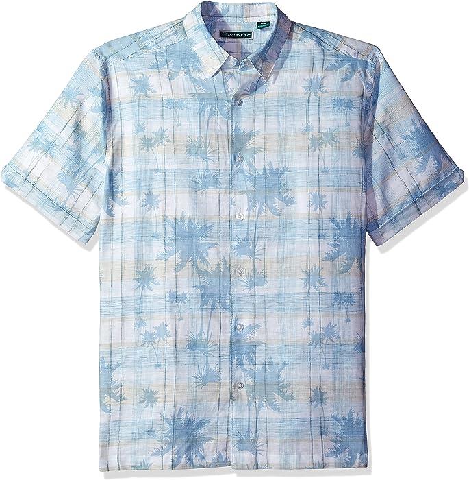 27f3f934ff Cubavera Men s Short Sleeve Plaid with Tropical Print Shirt at ...